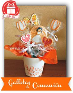 #Galletas de #comunión preparadas en una maceta de galletas. Más fotos en www.kukibox.com