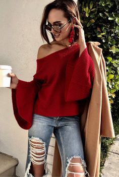 #fall #outfits women's red off-shoulder tops. Click To Shop This Look.