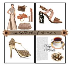 """""""Embellished Shoes"""" by muskrosevintage ❤ liked on Polyvore featuring Chanel, Marni, Estée Lauder, Adrianna Papell, Judith Leiber, Madina Visconti di Modrone, polyvorecontest and embellishedshoes"""