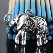 20Pc Tibetan Silver Carved Elephant Charm Pendant Bead Fit Necklace Jewelry DIY