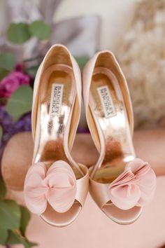 Badgley Mischka pink wedding shoes
