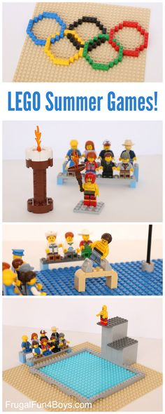Build the LEGO Summer Olympic Games! - Frugal Fun For Boys and Girls - mona Lego Activities, Lego Games, Fun Activities For Kids, Fun Games, Olympic Idea, Olympic Games, Legos, Lego Sports, Olympic Crafts