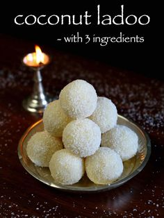 coconut ladoo recipe, nariyal ladoo, coconut laddu with step by step photo/video. famous indian sweet or indian laddu with dedicated coconut, milk & sugar. Coconut Recipes Indian, Easy Indian Sweet Recipes, Indian Dessert Recipes, Indian Sweets, Sweets Recipes, Cake Recipes, Coconut Powder Recipes, Cooking Recipes, Desert Recipes