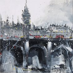 The iconic London skyline at Christmas with Big Ben, Elizabeth Tower and Westminster and the iconic red routemaster buses passing over the bridge in a flurry of snow. Black and white, all sides are painted black. Inspired by the artist's love for city, visiting regularly to take photos, especially at Christmas and to see in the New Year. She feels a connection to city life, it reminds her of her home in St Petersburg. 12 inches x 12 inch superb quality Gerstaecker canvas board, perfect fo...