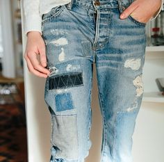 I do love a patched jean.  I hope these patches were earned and not done for fashion ....