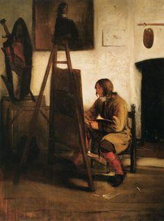 Barent Fabritius, Young Painter in his Studio 1655-60, olieverf op paneel, 72 x 54 cm. http://www.artsalonholland.nl