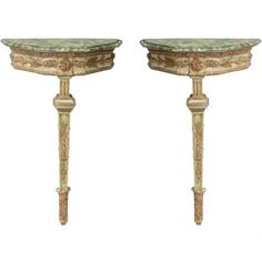 Pair of 19c. Italian Single Leg Console Tables : On Antique Row - West Palm Beach - Florida