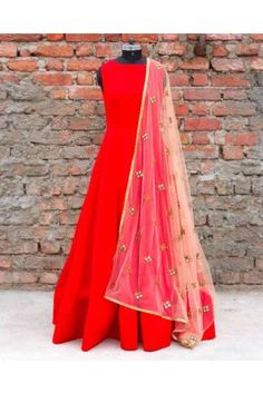 Red Stone Embroidered Tapeta Silk Anarkali Suit