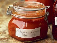 Porkkana-karviaishillo - Reseptit Preserves, Food And Drink, Vegan, Canning, Drinks, Cake, Recipes, Drinking, Preserve