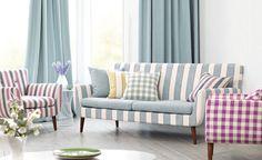 Telas de rayas y cuadros para tapizar, hacer cortinas y cojines - Villalba Interiorismo
