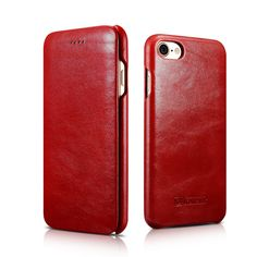 Bon Tech Vintage Genuine Leather Wallet Case Side Open Design, Flip Folio Cover with Hidden Magnet for IPhone 7 4.7 Inch (Red) -- Awesome products selected by Anna Churchill