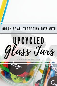 Don't throw away those old jars, try reusing them instead! Make these cute upcycled glass jars for storing and organizing different kids supplies. Such a fun, easy and fast DIY project! Kids Desk Organization, Spice Organization, Kids Storage, Lego Storage, Organizing, Storage Ideas, Crafts For Kids To Make, Craft Activities For Kids, Craft Ideas