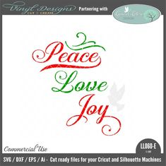 - Peace Love Joy with Dove. Sold By Lyrical Letters DesignSmall business commercial useAvailable in SVG, DXF, EPS and Ai formats.Works in Cricut Design space andSilhouette Studio Basic,Silhouette Designer Edition andSilhouette Business Edition Lettering Design, Hand Lettering, Silhouette Machine, Silhouette Designer Edition, Vinyl Designs, Wooden Signs, Cricut Design, Peace And Love, Design Bundles