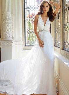 Abiti per matrimonio - $189.84 - A-Line/Principessa Scollatura a V Coda a strascico cappella Chiffona Tyll Abito per matrimonio con Increspature Perline (00205003572)