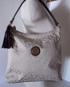ad0da06af15 Tommy Hilfiger Beige/tan SM Logo Shoulder Bag Bucket Hobo Purse Handbag for sale  online | eBay