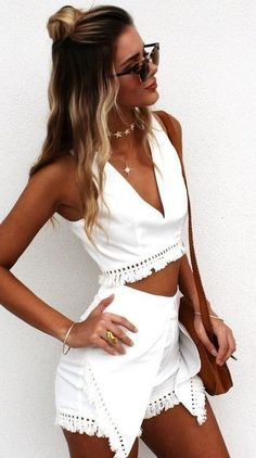 #summer #girly #outfitideas   Tan Skin + White + Fringes
