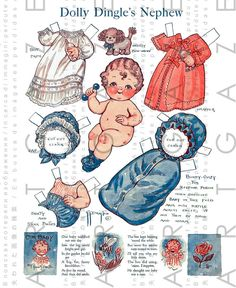 Three Uncut Pages of Vintage Dolly Dingle Paper Dolls! from bisquebeauties on Ruby Lane Graphic Design Print, Graphic Prints, Paper Toys, Paper Crafts, Foam Crafts, Paper Art, Paper Dolls Printable, Kewpie, Vintage Paper Dolls