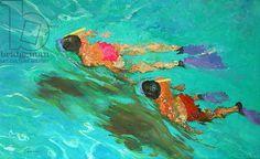 Snorkellers (oil on board), Ireland, William (1927-2015) / Private Collection / Bridgeman Images