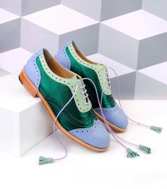 Green and Blue Wingtip Women's Oxfords Lace up Flat Tassels Brogues for Work, School Pumps Heels, High Heel Pumps, Flats, Cute Shoes, Me Too Shoes, Oxford Shoes Outfit, Custom Boots, Vintage Shoes, Brogues