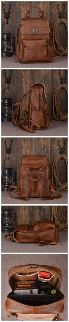Handmade Full Grain Leather Backpack, Travel Backpack, School Backpack Model Number: 9031 Dimensions: x x / x x Weight: lb / Hardware: Brass Hardware Color: Dark Brown / Retro Brown / Blue Gray Features: Rucksack Backpack, Travel Backpack, Vintage Leather Backpack, Leather Bags, Brown Leather, Leather School Bag, Backpack For Teens, Cool Backpacks, Teen Backpacks
