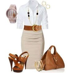 Work outfit Collared blouse, pencil skirt, heels White, beige, brown