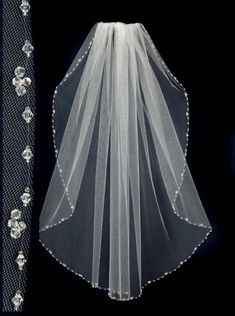 Bridal Veils with Crystals | Wedding Veil with Crystal Bead and Rhinestones Edge