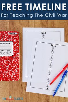 Let your students get creative with this FREE Civil War timeline! This freebie makes a fun addition to any Civil War history projects activities or lessons! This timeline was created with grade through middle school education in mind. 7th Grade Social Studies, Social Studies Lesson Plans, Social Studies Notebook, Social Studies Activities, Middle School Us History, Education Middle School, History Class, Teaching Us History, Student Teaching