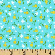 Farmhouse Blooms Geo Flower Yellow from @fabricdotcom Designed by Olde Green Cupboard Designs for Marcus Fabrics, this cotton print is perfect for quilting, apparel and home decor accents. Colors include aqua, yellow, green, and white.