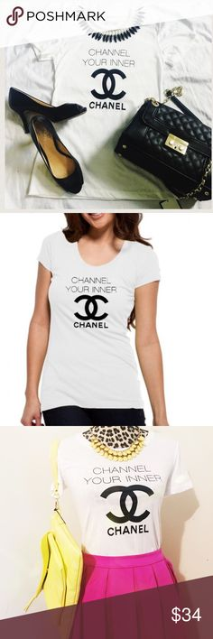 Closet Clearout! Channel your inner Chanel tee Host Pick for Wardrobe Goals Party! Channel your inner Chanel fitted graphic tee. These are new with tags, Retail. Blogger favorite graphic tees and tanks make a statement! Poshmark Exclusive! Not Chanel brand ha ha just cleverly Chanel style savvy in a t-shirt! Measurements in photo 4  *** This a multi-unit listing. You may purchase one or more quantities depending on availability. Listing will update automatically with availability. Ask…