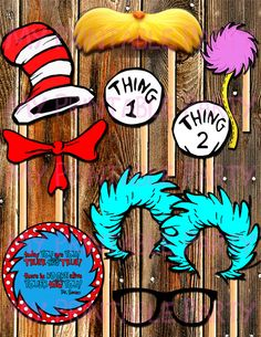 Seuss Photo Props-Thing by MyPrintablePartyLine Dr Seuss Birthday Party, Twin Birthday, First Birthday Parties, First Birthdays, Birthday Ideas, Lorax Costume, Jordan Baby Shower, Cat In The Hat Party, Grinch