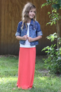 Girls Coral Long Knit Skirt, Sizes 6-16: theskirtoutlet.com