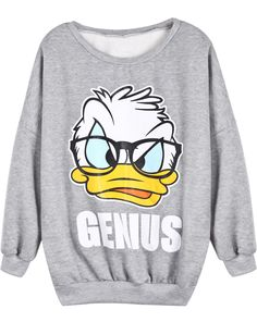 Shop Grey Long Sleeve Donald Duck Print Sweatshirt online. Sheinside offers Grey Long Sleeve Donald Duck Print Sweatshirt & more to fit your fashionable needs. Free Shipping Worldwide!