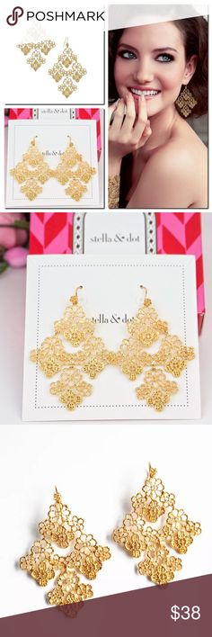 Stella & Dot Chantilly Lace Chandelier Earrings New in box.   So pretty and elegant!  Gold plated filigree earrings were inspired by a piece of vintage lace. * 2 1/2'' length. * Gold vermeil earwire fish hook closure. Stella & Dot Jewelry Earrings