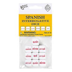 SPANISH INTERROGATIVE DICE SET 10PC