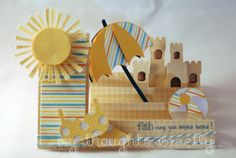 Summer step card using Lettering Delights and My Thoughts Exactly stamps. 3d Cards, Pop Up Cards, Folded Cards, Cool Cards, Card Making Inspiration, Making Ideas, Scrapbook Cards, Scrapbooking, Side Step Card