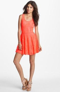 Robin K V-Back Lace Skater Dress (Juniors) | Nordstrom