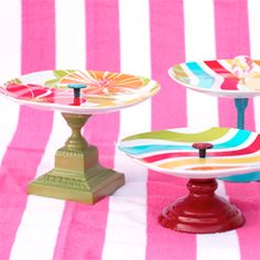 Fun and colorful DIY cake stand