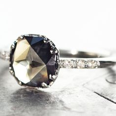 Our 1.05 carat translucent smoky grey diamond ring. Love this!  #jewelry #chincharmaloney