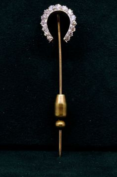"Antique Old European Cut Diamond 14k Solid Gold Handmade Gamblers Stick Pin; European Cut Diamonds are approx. 1 ct. T.W. SI in clarity and G/H in Color. Approx. 6"" x 15.2mm (about 1/2"") ;Approx. 2.6g"