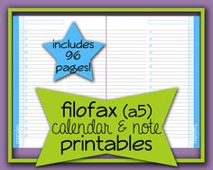 Filofax A5 Planner Calendar & Note Refill by LMPhotographyDesign