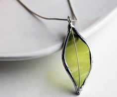 Stained Glass Jewelry Necklace - Re Purposed Wine Bottle - Light Green. $23.50, via Etsy.