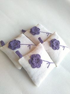Gifts For Women Lavender pillow with hanging, lavender sachet fragrance, wedding favor, crochet. Lavender Crafts, Lavender Bags, Lavender Sachets, Lavender Pillow, Wedding Lavender, Lavender Colour, Wedding Flowers, Lavander, Lavender Flowers