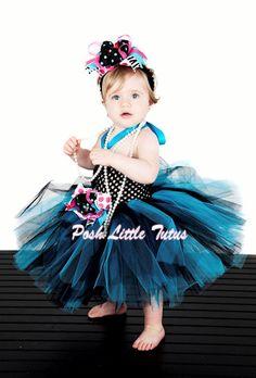 Swanky Baby Polkas & Zebra Crochet Tutu Dress in TurquoiseBlack