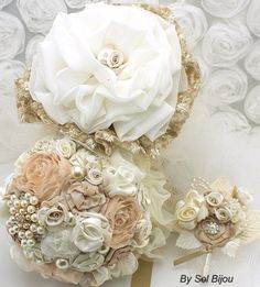 Brooch Bouquet Toss Bouquet and Groom Boutonniere in by SolBijou, $385.00