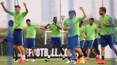 Juventus players take part in a training session ahead of their UEFA Champions League semi-final second leg against Real Madrid CF