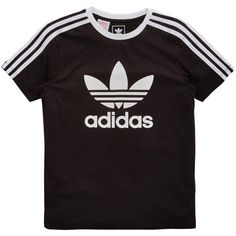 Adidas Originals Adidas Originals Older Girls 3 Stripe Tee ($26) ❤ liked on Polyvore featuring tops, t-shirts, striped t shirt, adidas originals tee, cotton t shirts, adidas originals t shirt and adidas originals