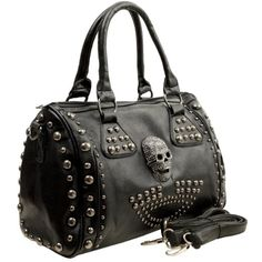 Amazon.com: HOWEA Trendy Black 3D Rhinestone Devil Skull Studded Top Double Handle Doctor Style Bowler Satchel Shopper Tote Handbag Purse Shoulder Bag: Clothing