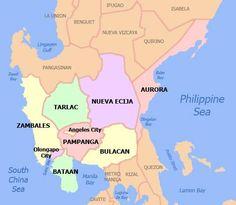 The Central Luzon Region of the Philippines Angeles City Philippines, Regions Of The Philippines, Philippines Travel, Cagayan Valley, Philippine Map, Olongapo, Subic Bay, Ilocos