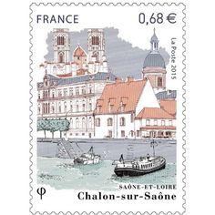 Timbre 2015 : Cathédrale Saint-Vincent et Église Saint-Pierre de Chalon-sur-Saône (Saône-et-Loire) | Wikitimbres