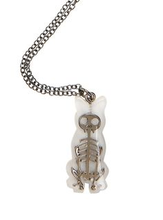 Blackheart Cat Skeleton Clear Pendant Necklace,